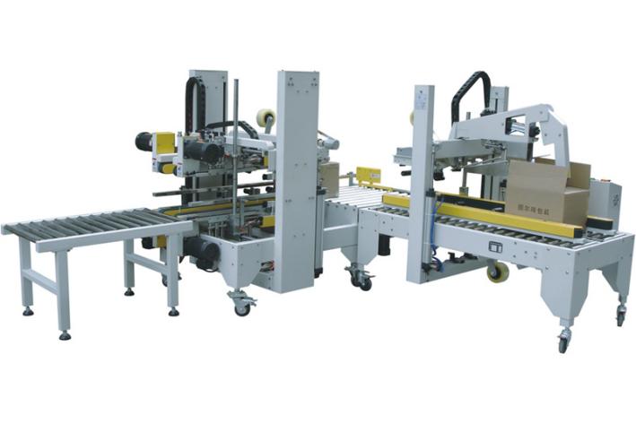 全自动折盖封箱机搭配全自动四角边封箱机